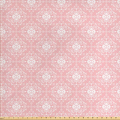Lunarable Vintage Fabric by The Yard, Renaissance Shabby Form Blossoms with Curved Scroll Leaves and Petals Image, Decorative Fabric for Upholstery and Home Accents, Pale Pink White
