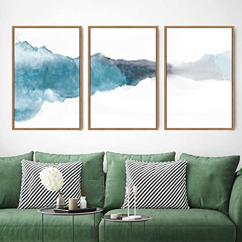 SIGNWIN 3 Piece Framed Canvas Wall Art Abstract Watercolor Painting Canvas Prints Home Artwork Decoration