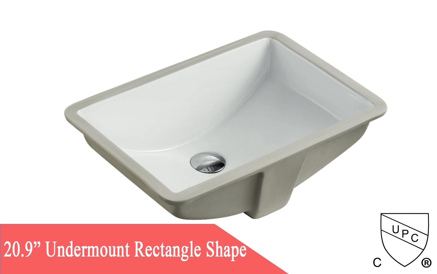 20.9 Inch Rectrangle Undermount Vitreous Ceramic Lavatory Vanity Bathroom Sink Pure White by Contempo Living Inc