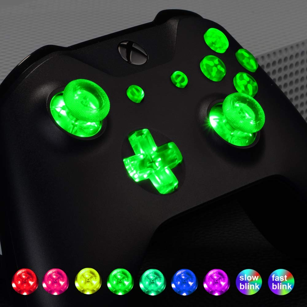 DTF LED Kit for Xbox One Standard Xbox One S X Controller 7 Colors 9 Modes Button Control eXtremeRate Multi-Colors Luminated D-pad Thumbsticks Start Back ABXY Action Buttons