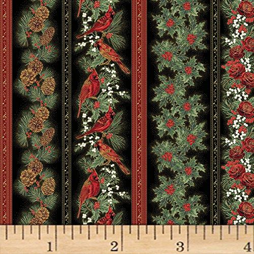 Hoffman Fabrics Hoffman Cardinal Carols Christmas Stripe Metallic Black/Gold Fabric by The Yard,