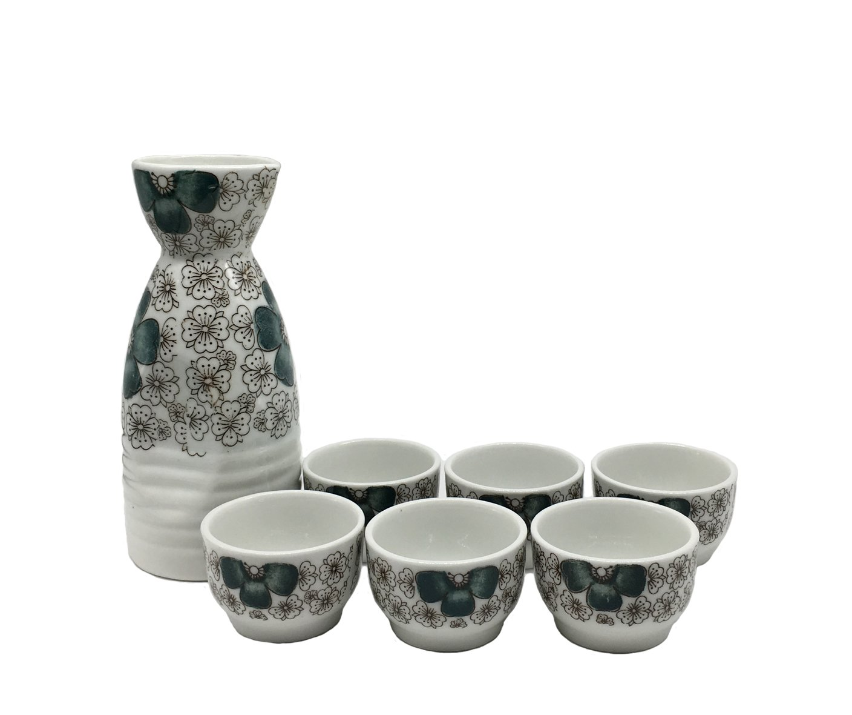 KCHAIN 7 in 1 set Ceramic Sake set (Blue Sakura)