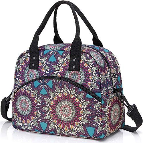 Insulated Lunch Box Bag with Detachable Shoulder Strap & Carry Handle,Leak Proof Reusable Lunch bag, Eco-friendly Cooler Bag,School Lunch Box for Kids,Men,Women (Bohemians) (Color: Bohemians)
