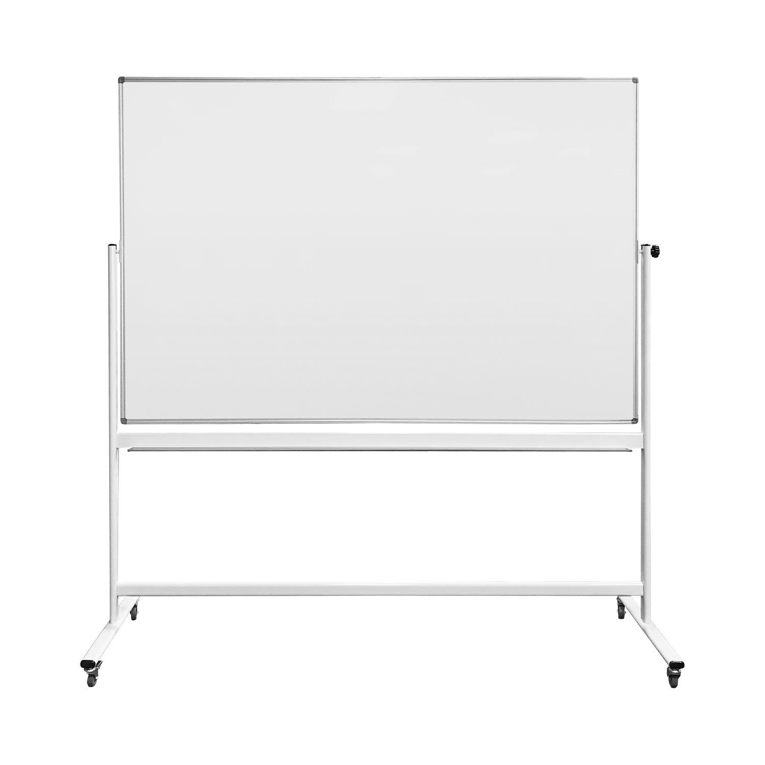 Thornton's Office Supplies Magnetic Reversible Mobile Dry Erase Whiteboard Easel, 70'' L x 48'' W, White/Silver