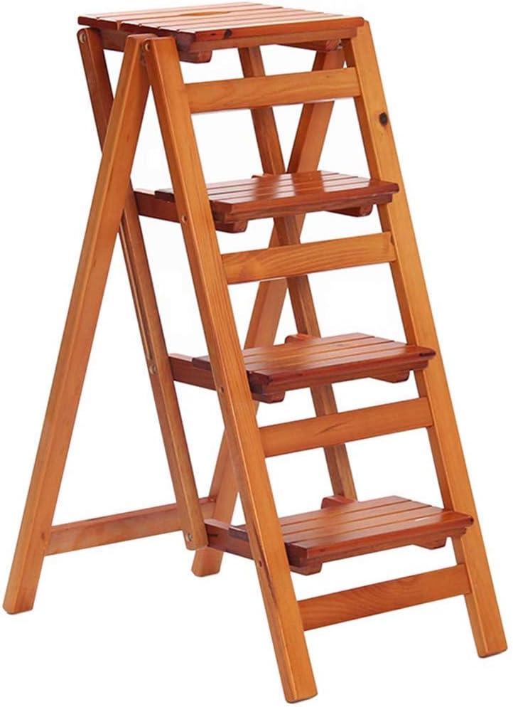 LHF Inicio Taburetes de escalera, silla de escalera de 4 peldaños Taburete de escalera Escalera de madera Estantería Escalera de mano Madera maciza Escalada de doble uso Seguridad ampliada Estante de: Amazon.es: