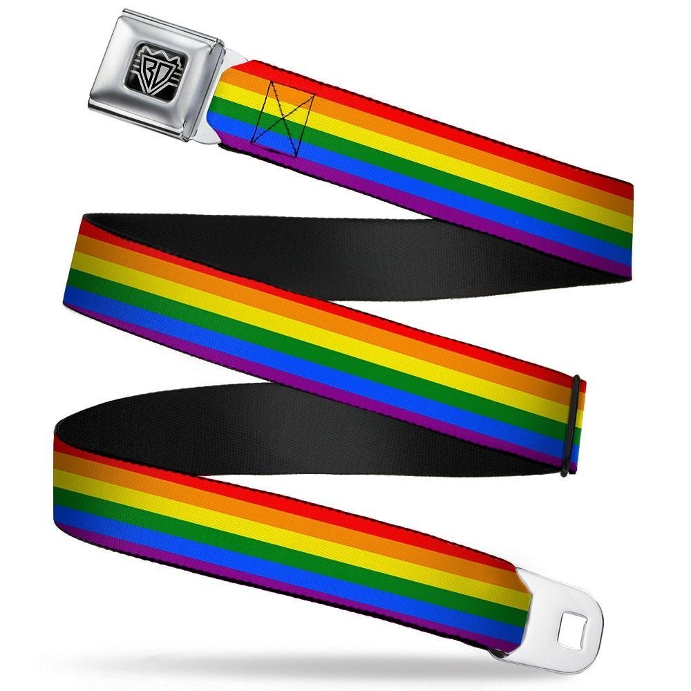 Buckle-Down Seatbelt Belt 1.0 Wide 20-36 Inches in Length Flag Pride Rainbow