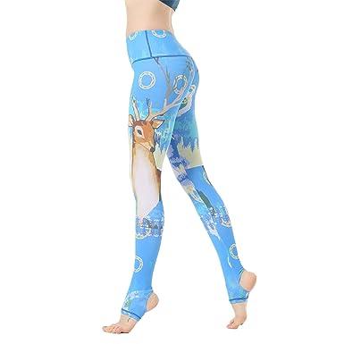 Amazon.com: INDerua Sky Blue Giraffe Yoga Pants Women Gym ...