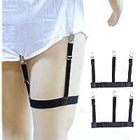 AOLVO - Cinturón elástico Ajustable para Hombre con Abrazaderas de Bloqueo Antideslizantes y Mantiene Las Camisas guardadas, 2 Unidades
