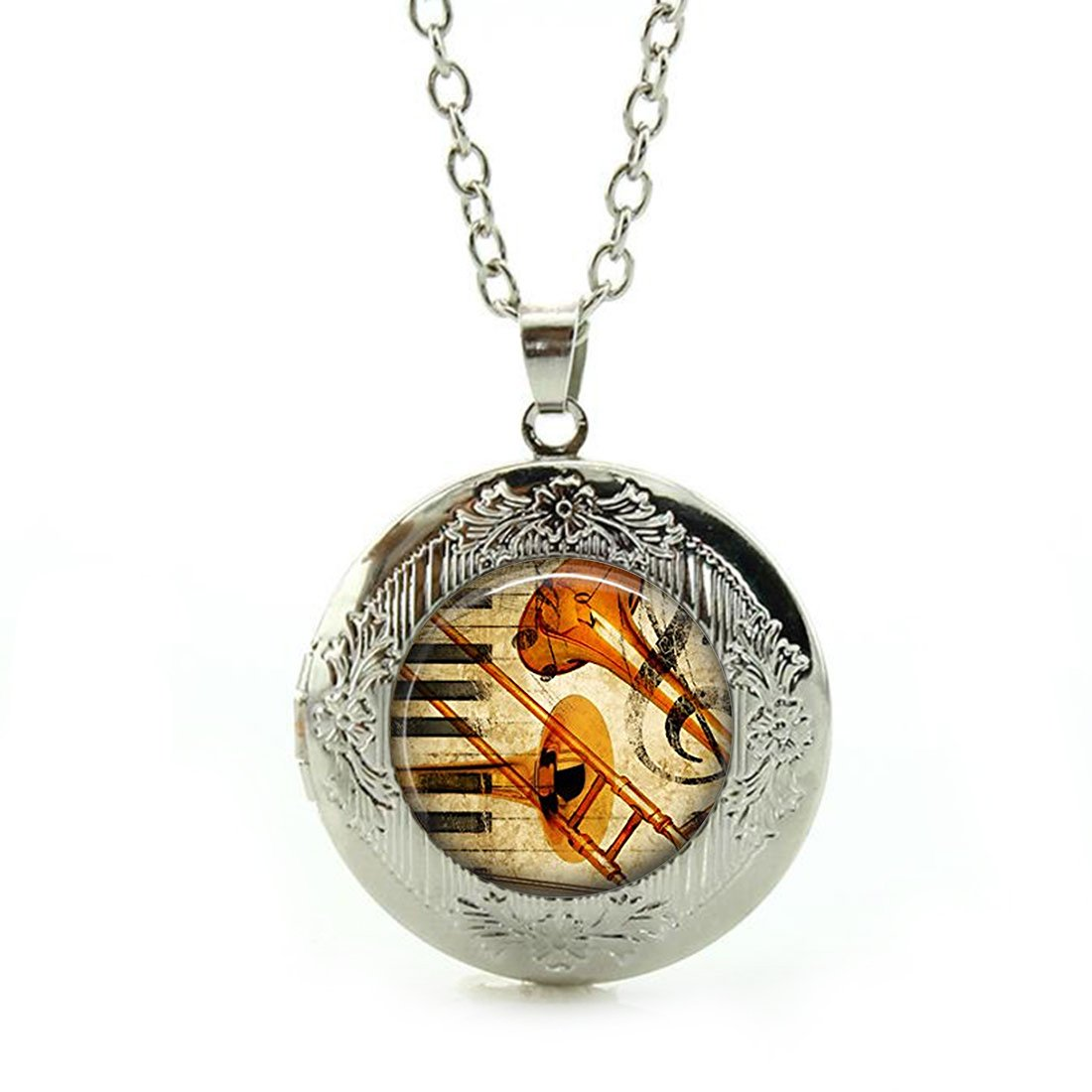 Best Gift Set Womens Custom Locket Closure Pendant Necklace Guitar Glass Pendant Instrument Included Free Silver Chain
