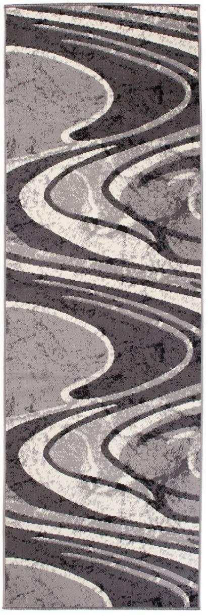 Tapiso Dream Läufer Teppich Flur Brücke Modern Wellen Streifen Linien Abstrakt Muster in Grau Creme Designer Wohnzimmer ÖKOTEX 70 x 900 cm