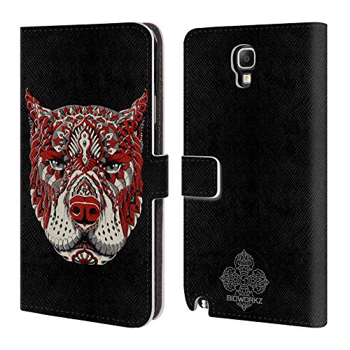 Official Bioworkz Pitbull 1 Coloured Canine 1 Leather Book Wallet Case Cover For Samsung Galaxy Note 3 Neo