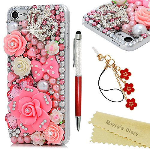 Teenage Girl Diy Costumes (iPod Touch 6th Generation Case - Mavis's Diary 3D Handmade Luxury Bling Pink Flowers with Cute Bow Shiny Crown Diamonds Clear Case Hard Cover For iPod Touch 6th Generation with Dust Plug & Crystal Pen)