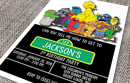 Birthday Invitations - Sesame Street - Big Bird - Cookie Monster - Elmo - Custom Birthday (Custom Birthday Invitation)