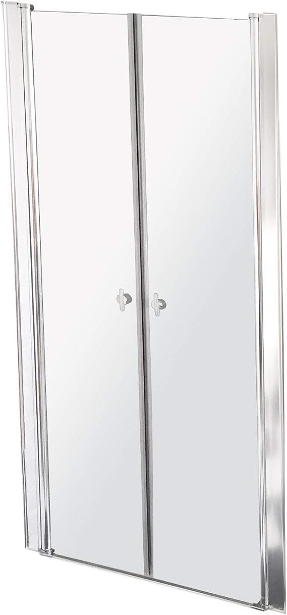 Home Deluxe Lavea - Mampara de ducha abatible con doble puerta y cristal de seguridad (80 x 195 cm, aluminio pulido): Amazon.es: Bricolaje y herramientas