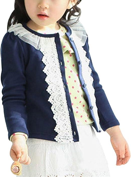 Laurelor Baby Girl Lace Shrug Short Cardigan Button Sweaters Jacket Coat Tunic