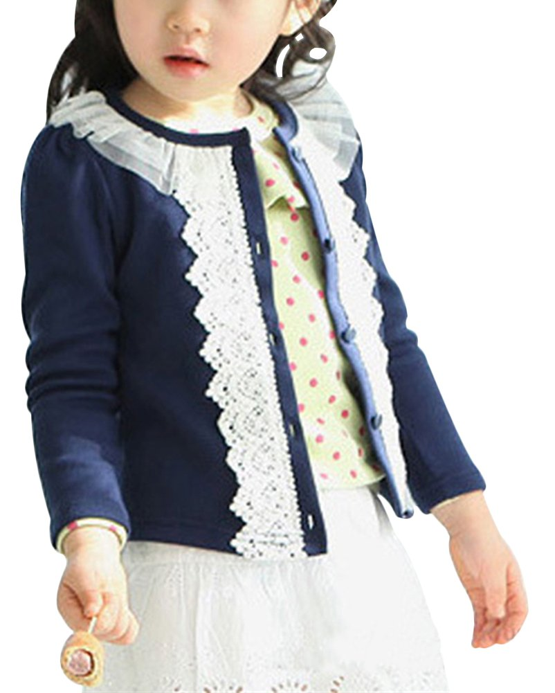 Laurelor Baby Girl Lace Shrug Short Cardigan Button Sweaters Jacket Coat Tunic,Dark Blue,Suggest Height:55.1''
