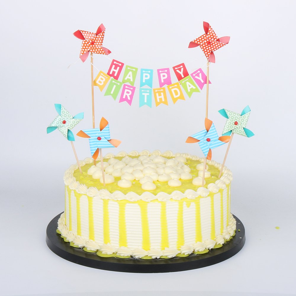Amazon PALASASA Small Windmill And Colorful Happy Birthday Banner Cake TopperParty Decoration Supplies Toys Games