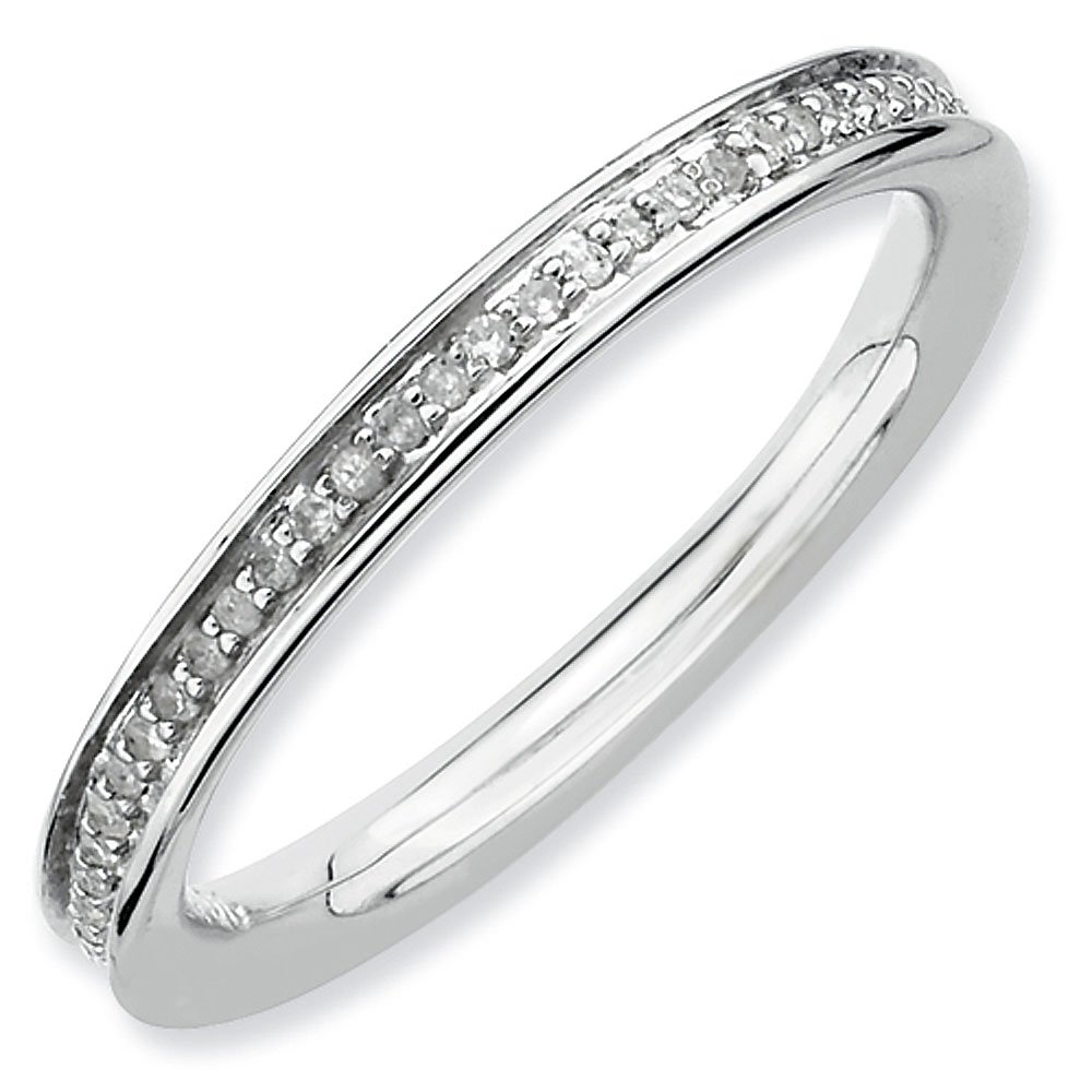 2.25mm Rhodium Plated Sterling Silver Stackable Expressions Diamond Eternity Ring - Size 9