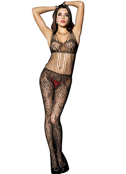 9a6fe80e7580c MUSIC LEGS Women s Shredded Strap Floral Lace Crotchless Bodystocking Net  Bodice