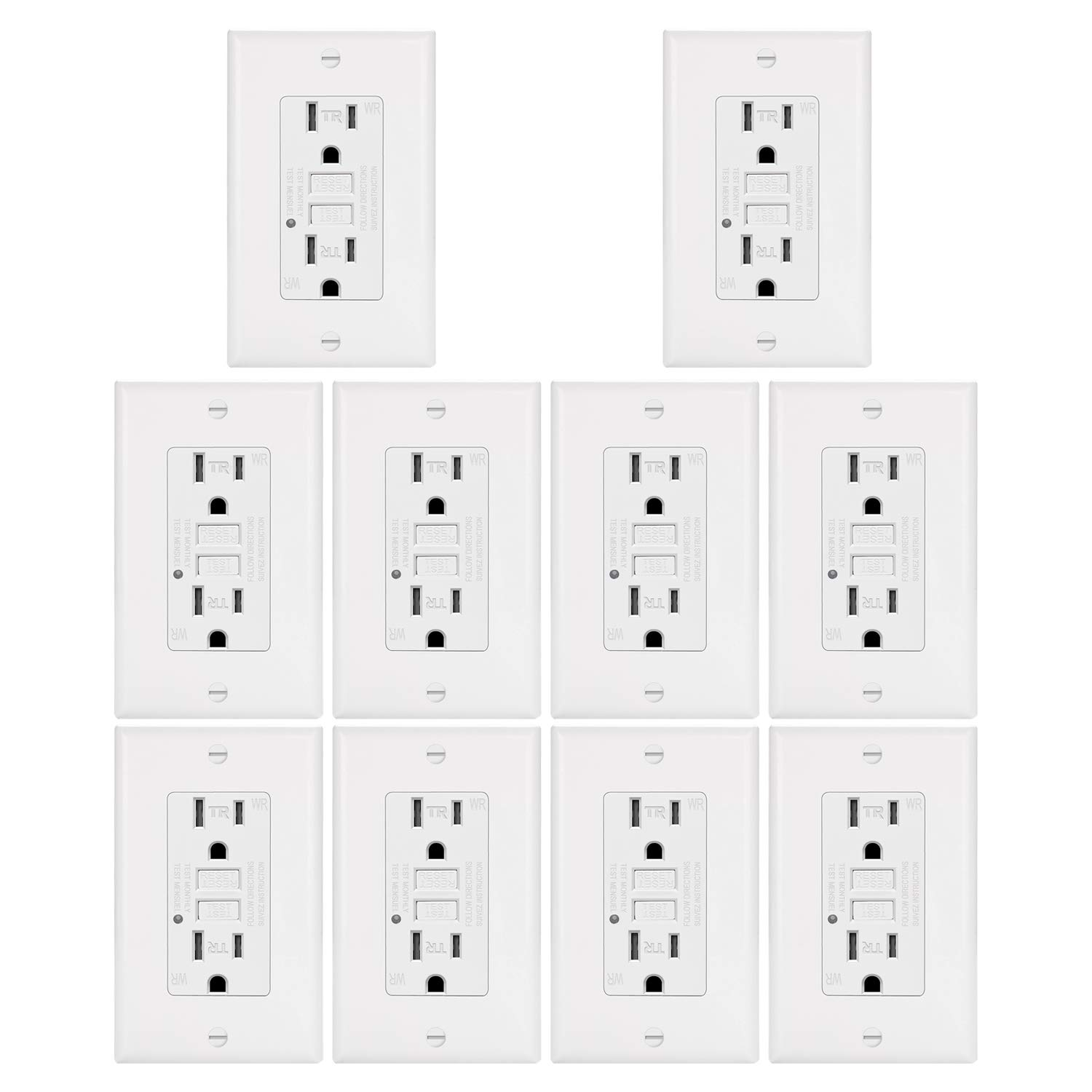 10 Pack - ELECTECK Weather Resistant GFCI Outlet, Ground Fault Circuit Interrupter with LED Indicator, 15-Amp Tamper Resistant Receptacle, Decorator Wall Plate Included, ETL Certified, White by ELECTECK