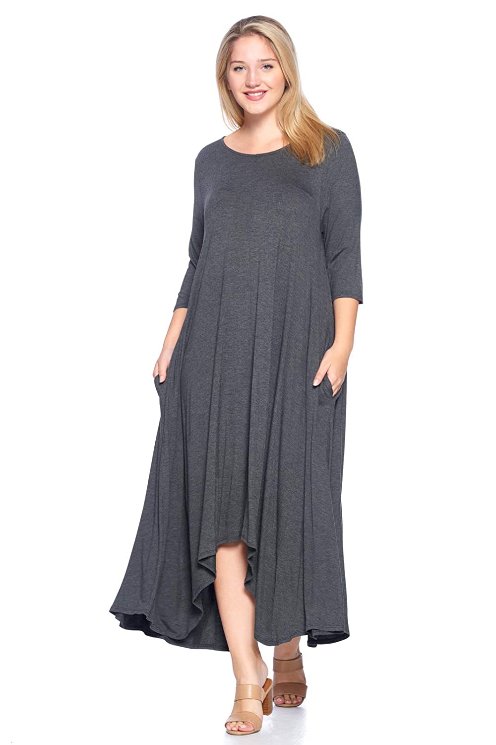 Comfy Womens Vogue Plus-size Basic Style Long-Sleeve Trapeze Dress