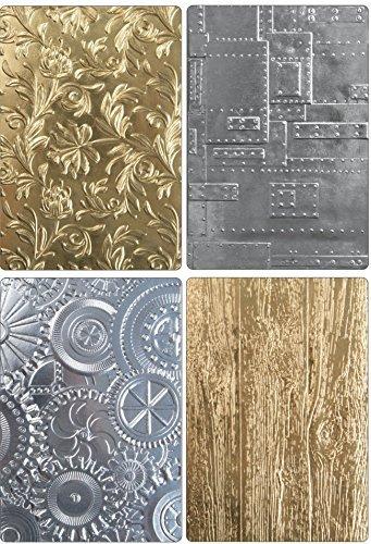 - Tim Holtz Sizzix 3D Texture Fades Embossing Folders - Botanical, Lumber, Mechanics and Foundry - 4 item bundle