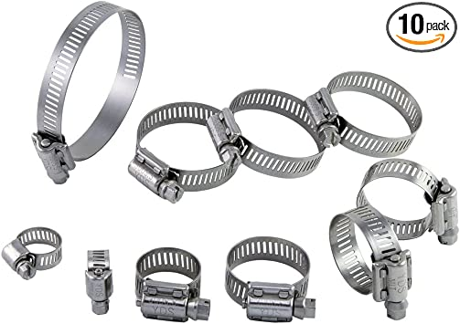 """Pipe and Hose Clamp #72-4-1//8/"""" to 5/"""" Pack of 10"""