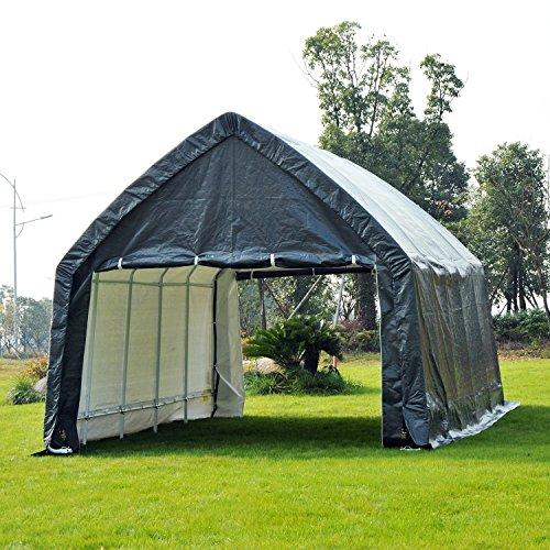 Heavy Duty Carport Enclosure : Outsunny  heavy duty enclosed vehicle shelter
