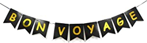 Bon Voyage Swallowtail Banner-Going Away Cruise Celebration Moving Away Party Decorations-Gold &Black