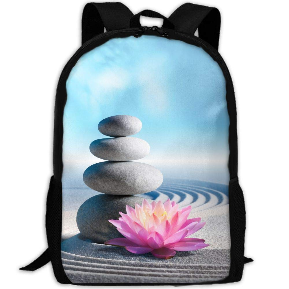 OIlXKV Spa Zen Stone Print Custom Casual School Bag Backpack Multipurpose Travel Daypack For Adult