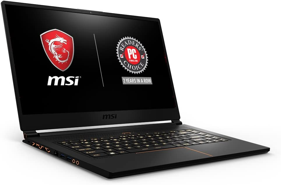 "MSI GS65 Stealth15.6"" 144Hz 7ms Ultra Thin 4.9mm Bezel Gaming Laptop, GTX 1070 8G, i7-8750H (6 Cores) 16GB DDR4, 256GB SSD, RGB KB VR Ready,Metal Chassis, Black w/ Gold Diamond Cut, Win 10 Home 64bit"