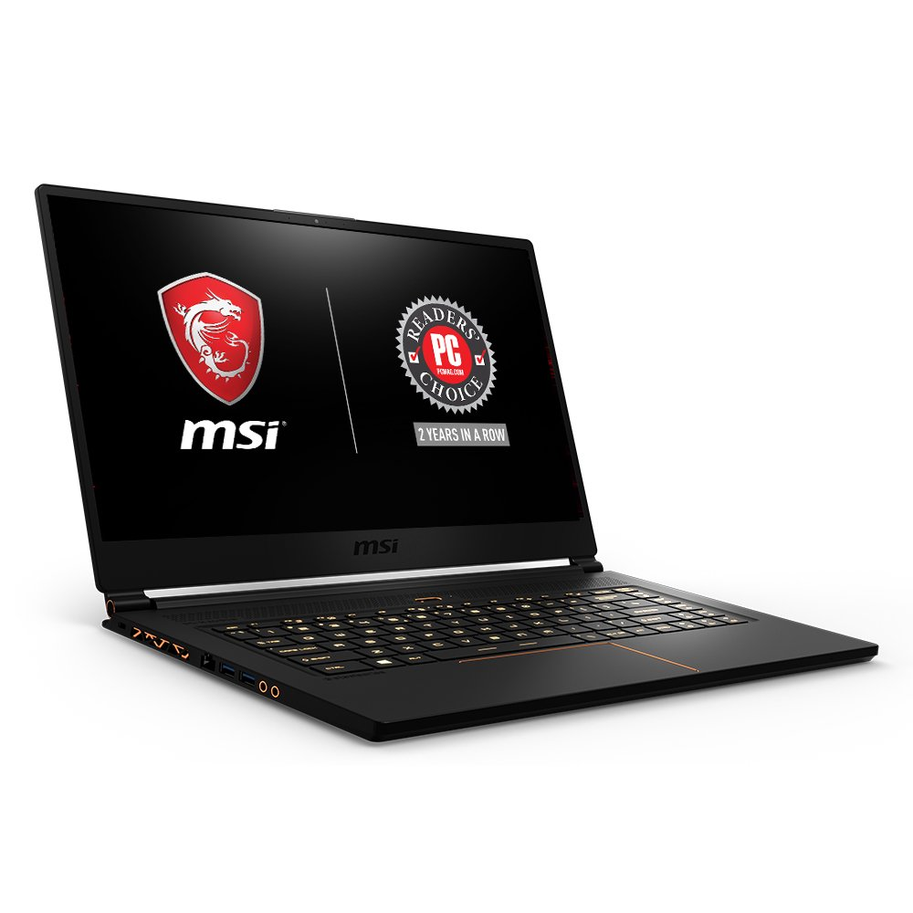 MSI GS65 Stealth15.6 144Hz 7ms Ultra Thin 4.9mm Bezel Gaming Laptop, GTX 1070 8G, i7-8750H 6 Cores 16GB DDR4, 256GB SSD, RGB KB VR Ready,Metal Chassis, Black w Gold Diamond Cut, Win 10 Home 64bit