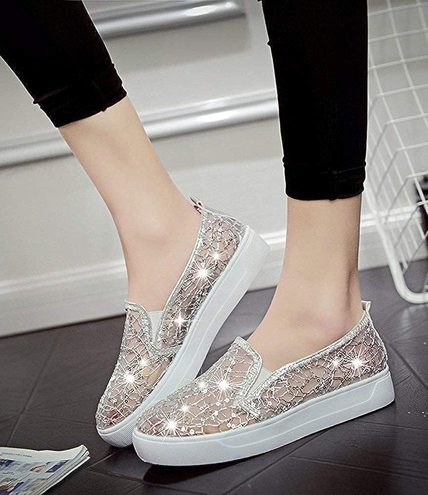 Unm Womens Trendy Gauze Sequin Round Toe Elastic Slip On Sneakers Platform Loafers Shoes