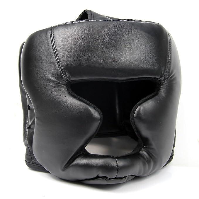 TOOGOO(R) Sombrereria buena negra Guardia de cabeza Casco de entrenamiento Equipo de proteccion del boxeo patada: Amazon.es: Deportes y aire libre