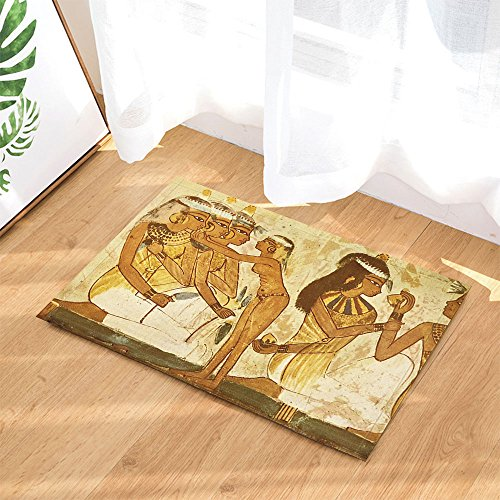 NYMB Fresco Bath Rugs, Ancient Egypt Mural Cultural Relic Pharaoh woman, Non-Slip Doormat Floor Entryways Indoor Front Door Mat, Kids Bath Mat, 15.7x23.6in, Bathroom - Women Pharaoh