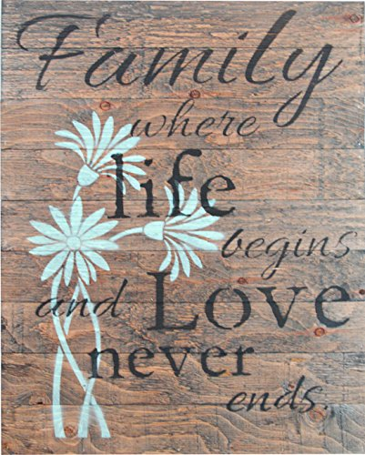 FAMILY WHERE LIFE BEGINS AND LOVE NEVER ENDS RUSTIC BARN WOOD PALLET SIGN 30quotx24quot Handcrafted antique style wall decor with floral design and inspirational quote that will beautify your family home