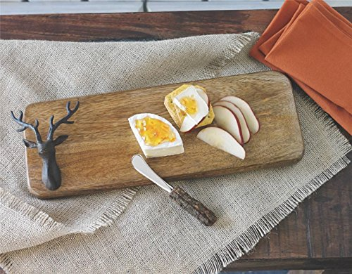 Mud Pie Lodge Reindeer Cutting Board and Cheese Spreader Set