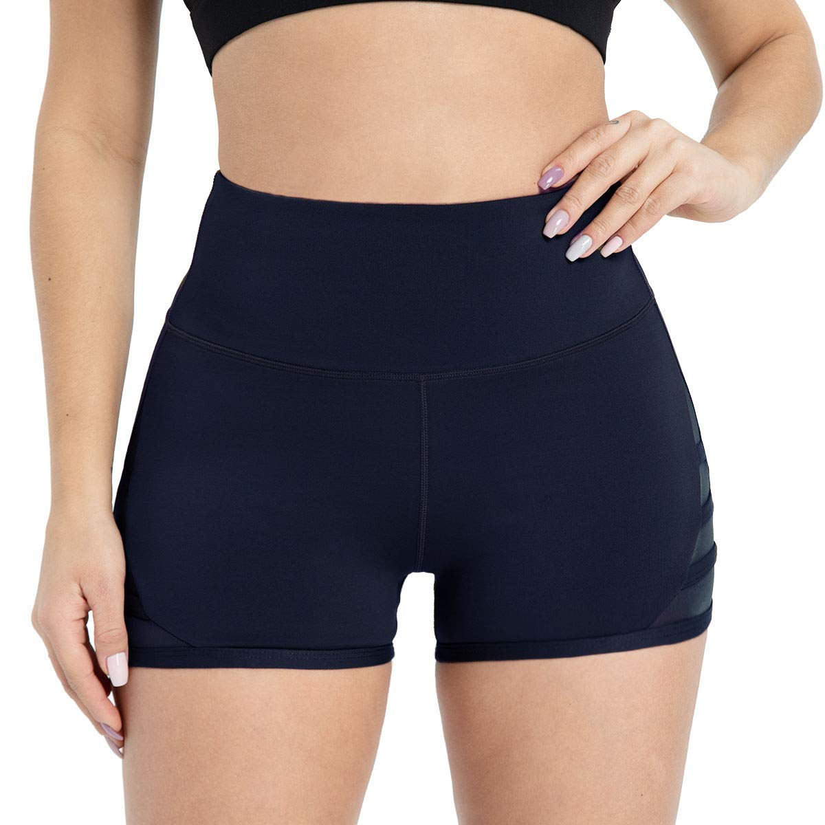 Dielusa Workout Running Shorts for Women 4 Way Stretch Soft Exercise Gym Yoga Shorts XXL Navy Blue