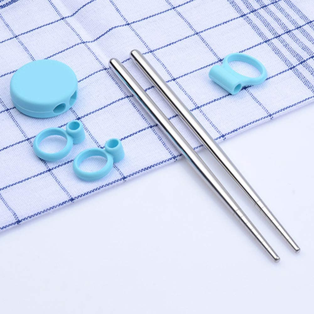 16,5 cm aprox. qhtongliuhewu 1 par de palillos de acero inoxidable azul anillo de silicona para ni/ños principiantes con herramienta de entrenamiento