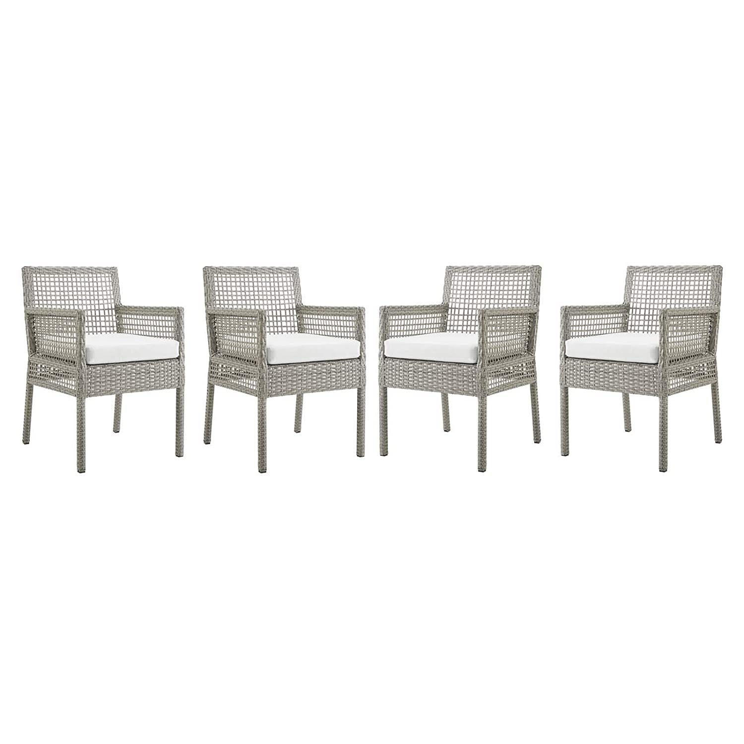 Modway EEI-3594-GRY-WHI Aura Dining Armchair Outdoor Patio Wicker Rattan Set of 4, Four, Gray White