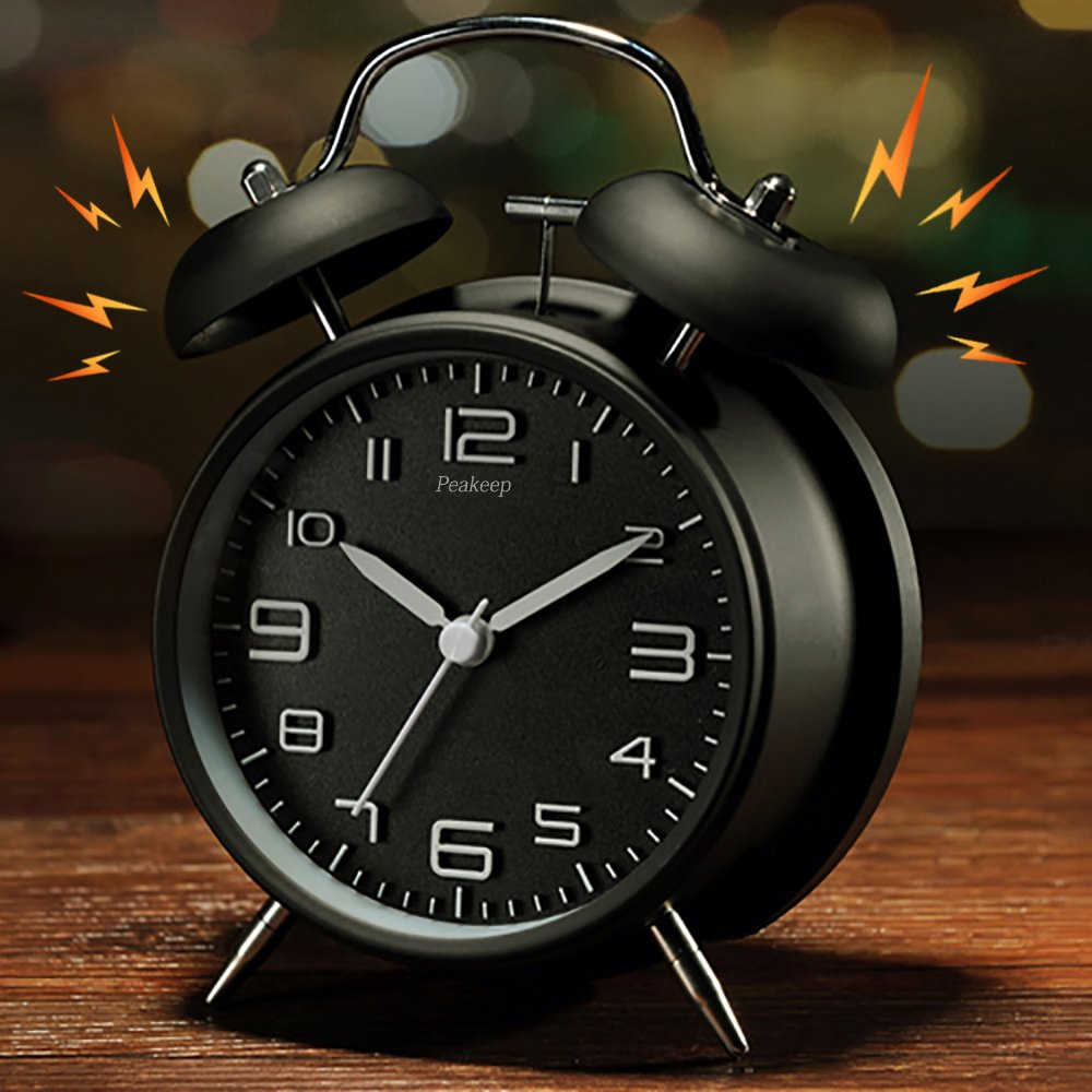 Peakeep 4'' Twin Bell Alarm Clock with Stereoscopic Dial, Backlight, Battery Operated Loud Alarm Clock (Black) by Peakeep (Image #7)