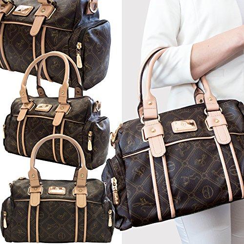 Damentasche Umhängetasche Handtasche von Giulia Pieralli *Toskana* Henkeltasche Leder Optik mit viel Platz 26119E Braun WYwwktcyq