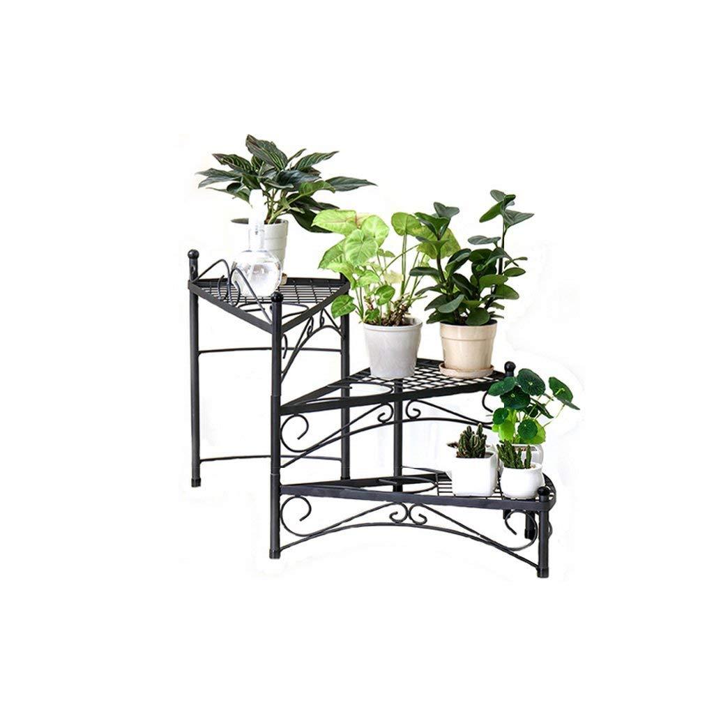 GONGFF Diseño Floral Negro Estilo de escalón de Metal Macetas de ...