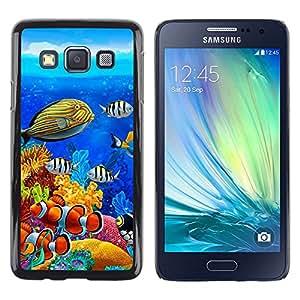 Paccase / Dura PC Caso Funda Carcasa de Protección para - Diving Fish Tropical Blue Ocean Water - Samsung Galaxy A3 SM-A300