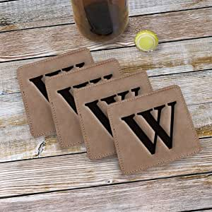 Monogram Engraved Leather Coasters, Set of 4