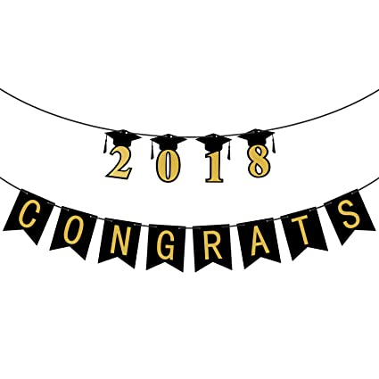 amazon com congrats 2018 graduation banner assembled class of 2018