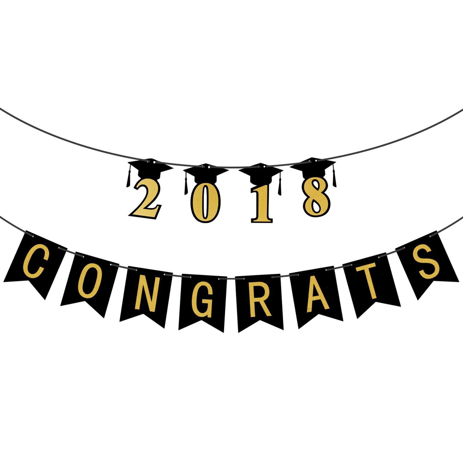 congrats 2018 graduation banner assembled class of 2018 gold banner