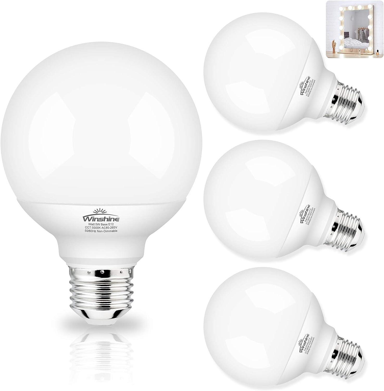 G25 LED Globe Light Bulbs, 5000K Daylight Vanity Mirror Light Bulbs for Bathroom E26 Medium Screw Base 60W Equivalent, Bedroom Vanity Makeup Mirror Lights Non-dimmable,Pack of 4