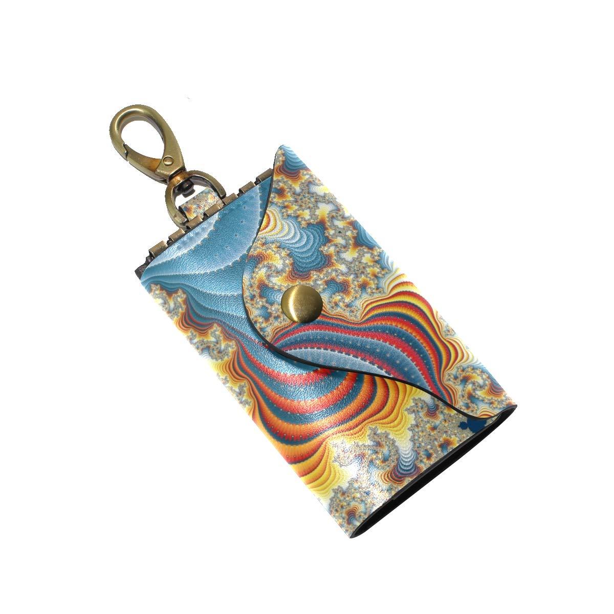 KEAKIA Fractal Print Leather Key Case Wallets Tri-fold Key Holder Keychains with 6 Hooks 2 Slot Snap Closure for Men Women