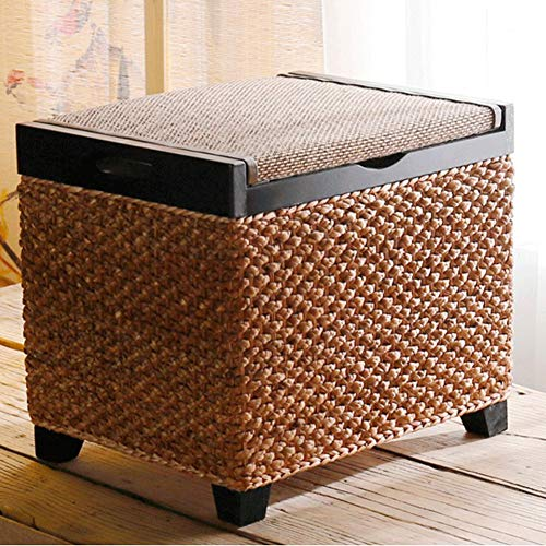Storage Ottoman with Flip Cover, Bamboo Footrest with Wood Legs and Handle Shoe Change Stool Living Room Sofa Coffee Table-c 45x36x30cm(18x14x12inch)